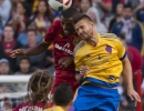 Michael Mangum  |  Special to the Tribune  Real Salt Lake defender Aaron Maund (21) and Colorado Rapids forward Luis Solignac (21) battle for a header during the first half their match at Rio Tinto Stadium in Sandy, UT on Saturday, April 9, 2016.