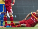 Michael Mangum  |  Special to the Tribune  Real Salt Lake defender Jamison Olave lays on the pitch after suffering a leg injury in the 4th mintue against the Colorado Rapids during the first half of their match at Rio Tinto Stadium on Sunday, June 7, 2015. Olave was subbed out during the 6th minute of the match.
