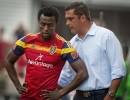 Michael Mangum  |  Special to the Tribune  Real Salt Lake head coach Jeff Cassar speaks with defender Abdoulie Mansally between plays against the Colorado Rapids during the first half of their match at Rio Tinto Stadium on Sunday, June 7, 2015.