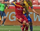 Michael Mangum  |  Special to the Tribune  Real Salt Lake midfielder Javier Morales (11) dribbles in front of pressure from Colorado Rapids forward Gabriel Torres (10) during the second half of their match at Rio Tinto Stadium on Sunday, June 7, 2015. The match ended in a 0-0 draw.