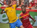 Michael Mangum  |  Special to the Tribune  Colorado Rapids defender Michael Harrington (5) heads the ball out of pressure from Real Salt Lake forward Olmes Garcia (13) during the second half of their match at Rio Tinto Stadium on Sunday, June 7, 2015. The match ended in a 0-0 draw.