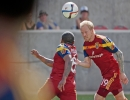 Michael Mangum  |  Special to the Tribune  Real Salt Lake midfielder Luke Mulholland (19) takes a shot with a header against the Colorado Rapids during the second half of their match at Rio Tinto Stadium on Sunday, June 7, 2015. The match ended in a 0-0 draw.