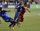 Colorado Rapids defender Drew Moor (3), left, and Real Salt Lake forward Joao Plata (8) get tangled up during their match at Rio Tinto Stadium in Sandy, UT on Saturday, May 17, 2014. Real Salt Lake defeated Colorado 2-1.