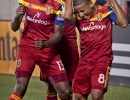 Real Salt Lake teammates Olmes Garcia, left, Javier Morales, center back, and Joao Plata celebrate Garcia's second half goal during their match against Montreal Impact at Rio Tinto Stadium in Sandy, UT on Thursday, July 24, 2014. Real Salt Lake defeated Montreal 3-1.  Michael Mangum  |  ChangingMyLens.com
