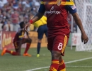 Real Salt Lake forward Joao Plata (8) walks to the corner for a freekick during the second half of their match against the New York Red Bulls at Rio Tinto Stadium in Sandy, UT on Wednesday, July 30, 2014. The match ended in a 1-1 draw.  Michael Mangum  |  ChangingMyLens.com