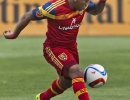 Michael Mangum  |  Special to the Tribune  Real Salt Lake forward Joao Plata (8) controls a pass during the first half of their match against Orlando City SC at Rio Tinto Stadium on Saturday, July 4, 2015.