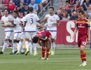 Michael Mangum  |  Special to the Tribune  Orlando City SC players celebrate their first half goal during the first half of their match against Real Salt Lake at Rio Tinto Stadium on Saturday, July 4, 2015.