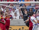 Michael Mangum  |  Special to the Tribune  Real Salt Lake goalkeeper Jeff Attinella (24) tips the ball into the crossbar for a save during the first half of their match against Orlando City SC at Rio Tinto Stadium on Saturday, July 4, 2015.