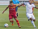 Michael Mangum  |  Special to the Tribune  Real Salt Lake midfielder Javier Morales (11) attempts to maneuver passed Orlando City SC midfielder Cristian Higuita (7) during the first half of their match against at Rio Tinto Stadium on Saturday, July 4, 2015.