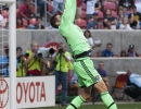 Michael Mangum  |  Special to the Tribune  Orlando City SC goalkeeper Tally Hall (22) snags the ball out of the air during the first half of their match against Real Salt Lake at Rio Tinto Stadium on Saturday, July 4, 2015.