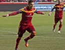 Real Salt Lake midfielder Javier Morales (11) celebrates his goal on a free kick during their match against the Philadelphia Union at Rio Tinto Stadium in Sandy, UT on Saturday, March 14, 2015. The match ended in a 3-3 draw.