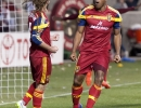 Real Salt Lake defender Jamison Olave (4) celebrates his second half goal during their match against the Philadelphia Union at Rio Tinto Stadium in Sandy, UT on Saturday, March 14, 2015. The match ended in a 3-3 draw.