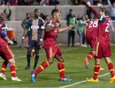 Real Salt Lake defender Jamison Olave (4) celebrates his second half goal with forward Sebastian Jaime (23) during their match against the Philadelphia Union at Rio Tinto Stadium in Sandy, UT on Saturday, March 14, 2015. The match ended in a 3-3 draw.