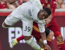 Michael Mangum  |  Special to the Tribune  Real Salt Lake midfielder Kyle Beckerman (5) and Seattle Sounders forward Oalex Anderson collide during their match at Rio Tinto Stadium in Sandy, UT on Tuesday, June 28th, 2016.
