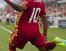 Michael Mangum  |  Special to the Tribune  Real Salt Lake forward Joao Plata (10) takes a corner kick during their U.S. Open Cup match against the Seattle Sounders at Rio Tinto Stadium in Sandy, UT on Tuesday, June 28th, 2016.