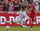 Michael Mangum  |  Special to the Tribune  Real Salt Lake defender Tony Beltran (2) takes a hard shot in front of an onrushing Seattle Sounders defender Tony Alfaro (29) during their U.S. Open Cup match at Rio Tinto Stadium in Sandy, UT on Tuesday, June 28th, 2016.