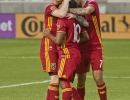 Michael Mangum  |  Special to the Tribune  Real Salt Lake players, Luke Mulholland, left, Joao Plata (10) and Burrito Martinez celebrate Plata's successful penalty kick during their U.S. Open Cup match against the Seattle Sounders at Rio Tinto Stadium in Sandy, UT on Tuesday, June 28th, 2016.