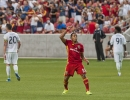 Michael Mangum  |  Special to the Tribune  Real Salt Lake forward Joao Plata celebrates his first-half penalty kick score as Seattle Sounders defenders Zach Scott (20) and Oniel Fisher (91) walk way during their U.S. Open Cup match at Rio Tinto Stadium in Sandy, UT on Tuesday, June 28th, 2016.