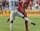 Michael Mangum  |  Special to the Tribune  Real Salt Lake midfielder Jordan Allen (70) heads the ball down in front of Seattle Sounders defender Joevin Jones (33) during their U.S. Open Cup match at Rio Tinto Stadium in Sandy, UT on Tuesday, June 28th, 2016. The match ended in a 1-1 draw with Seattle advancing after winning in a penalty kick shootout.
