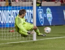 Michael Mangum  |  Special to the Tribune  Seattle Sounders goalkeeper Tyler Miller makes a save during a penalty kick shootout in their U.S. Open Cup match against Real Salt Lake at Rio Tinto Stadium in Sandy, UT on Tuesday, June 28th, 2016. The match ended in a 1-1 draw with Seattle advancing after winning in a penalty kick shootout.