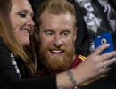 Real Salt Lake defender Nat Borchers, right, interacts with fans following the team's match at Rio Tinto Stadium in Sandy, UT on Saturday, March 29, 2014. Real Salt Lake defeated Toronto FC 3-0.