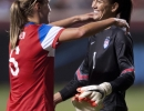 United States defender Whitney Engen (6), left, congratulates goalkeeper Hope Solo on her 72nd career shutout at Rio Tinto Stadium in Sandy, UT on Saturday, September 13, 2014 after defeating Mexico 8-0. Solo's 72 shutouts is a U.S. women's record.  Michael Mangum  |  ChangingMyLens.com