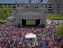 An estimated 6000 USA fans gather at the Gallivan Center in Salt Lake City during the broadcast of the United States' World Cup match against Belgium on Tuesday, July 1, 2014. The United States were knocked out of the tournament following a 2-1 loss in extra time.  Michael Mangum  |  ChangingMyLens.com