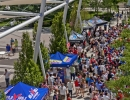 Sponsor tents line the walkway at the Gallivan Center in Salt Lake City during the broadcast of the United States' World Cup match against Belgium on Tuesday, July 1, 2014. The United States were knocked out of the tournament following a 2-1 loss in extra time.  Michael Mangum  |  ChangingMyLens.com
