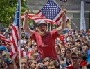 USA fans gather at the Gallivan Center in Salt Lake City during the broadcast of the United States' World Cup match against Belgium on Tuesday, July 1, 2014. The United States were knocked out of the tournament following a 2-1 loss in extra time.  Michael Mangum  |  ChangingMyLens.com