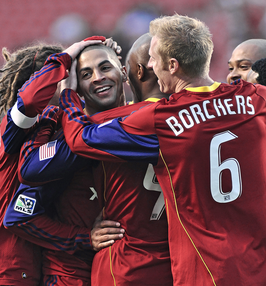 Real Salt Lake players celebrate together after Jamison Olvae's goal as Real Salt Lake hosted Toronto F.C. at RioTinto Stadium in Sandy, Utah on Saturday, May 1, 2010. | Photo by Michael Mangum