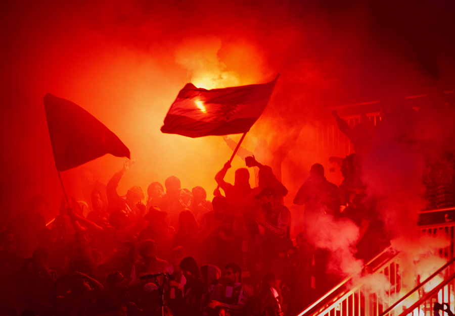 Fans of the Portland Timbers smoke bombed RioTinto Stadium during their match against Real Salt Lake in Sandy, Utah on Saturday, October 22, 2011. Police escorted out the culprits. | Photo by Michael Mangum