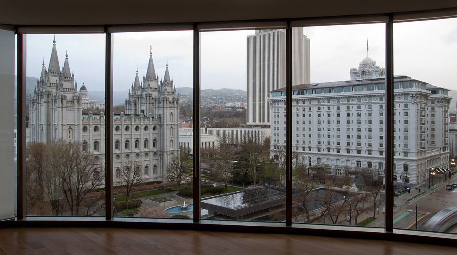 Michael Mangum  |  The Salt Lake Tribune  |  The Salt Lake LDS temple is shown through the window of a ninth floor condo at the City Creek Condos in downtown Salt Lake City on Monday, April 18, 2011.