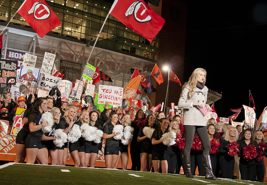 Michael Mangum | The Salt Lake Tribune | Reporter Erin Andrews speaks during ESPN's College GameDay Live telecast at Rice-Eccles Stadium on Saturday, November 6, 2010.