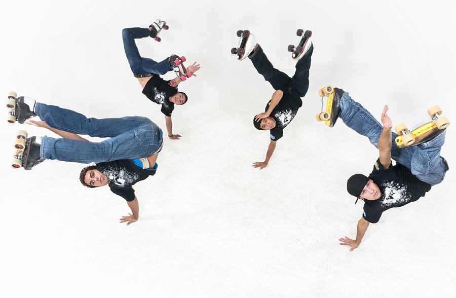 Michael Mangum | The Salt Lake Tribune | Nate Snow, left, Skylar Wilson, Armando Jimenez, and Adrian Aguillon pose for a photo in the Tribunes studio in Salt Lake City. The 4 skaters make up the Quadrum Skatecrew.