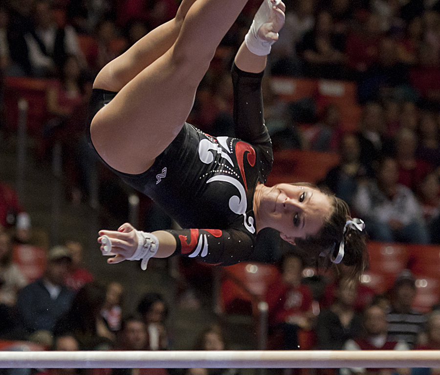 Michael Mangum  |  The Salt Lake Tribune  |  Utahs Stephanie McAllister performs on the uneven bars during the Red Rocks' meet against the Florida Gators at the Huntsman Center in Salt Lake City on Friday, March 4, 2011.