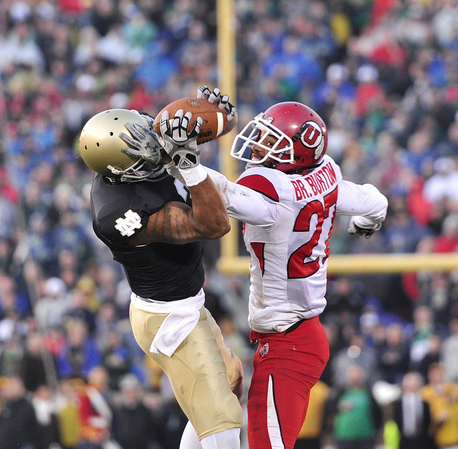 Michael Mangum  |  The Salt Lake Tribune | Utah defensive back Brandon Burton (27) breaks up a pass intended for Notre Dame wide receiver Michael Floyd (3) during the second half of play against the Fighting Irish at Notre Dame Stadium in South Bend, Indiana on Saturday, November 13, 2010.