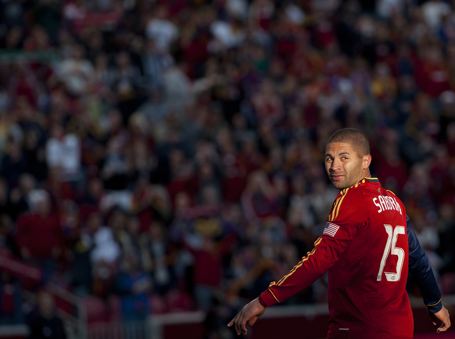 Real Salt Lake forward ALVARO SABORIO (15) looks to the crowd in celebration of the first of his two goals as Real Salt Lake hosted New England Revolution at Rio Tinto Stadium in Sandy, UT on Saturday, May 5, 2012. Real Salt Lake beat New England 2-1. | Photo by Michael Mangum