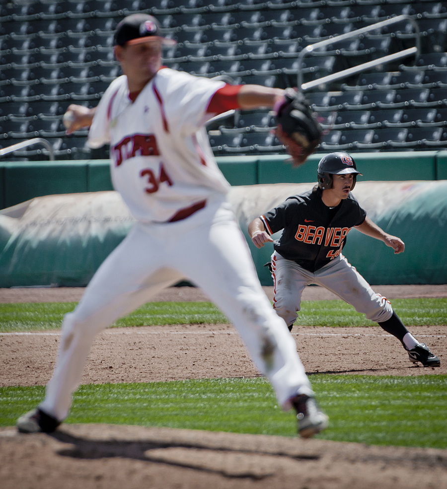 Oregon State center fielder MAX GORDON (40) leads off first base as Utah pitcher TYLER WAGNER (34) pitches during their game at Spring Mobile Ballpark in Salt Lake City, UT on Saturday, May 12, 2012. Utah defeated 23rd ranked Oregon State 4-3 in 11 innings. | Photo by Michael Mangum