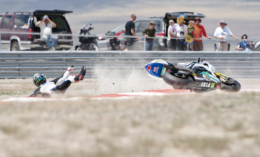 United States' JOHN HOPKINS (21) crashes his motorbike at the First Attitude turn during race 1 of the finals at the FIM Superbike World Championship races at Miller Motorsports Park in Grantsville, UT on Monday, May 28, 2012. Hopkins walked away from the crash, and did not finish the race. | Photo by Michael Mangum
