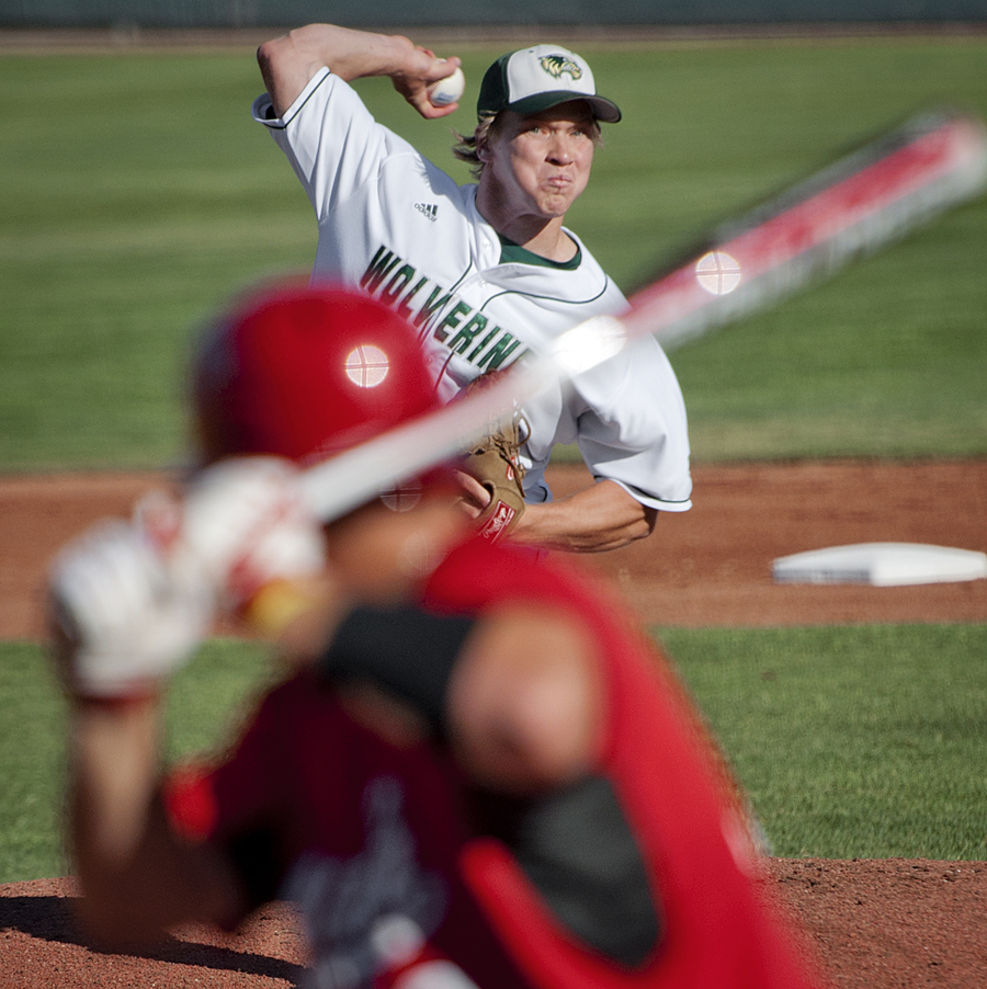 Utah Valley pitcher ADAM GUNN (8) pitches to Utah catcher PARKER MORIN (23) as Utah Valley University hosted the University of Utah at Brent Brown Ballpark in Orem, UT on Tuesday, May 15, 2012. Utah defeated Utah Valley 11-10, ending Utah Valley's 32-game win streak. | Photo by Michael Mangum