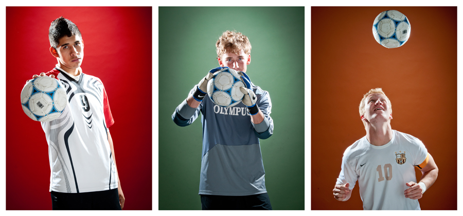 Michael Mangum  |  Special to the Tribune  |  Manti junior forward Carlo Garcia (2A), left, Olympus senior goalkeeper Ethan Cash (4A), and Davis senior midfielder John Taylor (5A) are shown in studio. Each athlete was selected as a Tribune boys soccer MVP for their respective class.