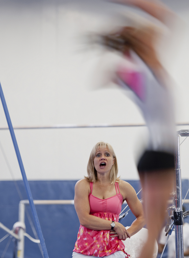 Michael Mangum  |  Special to the Tribune  |  Melissa Marlowe, coach at USA Gymnastics World gym in Bountiful and former Olympic and U of U gymnast, coaches her daughter Milan Clausi, 12, during tumbling training on Monday, June 18, 2012.