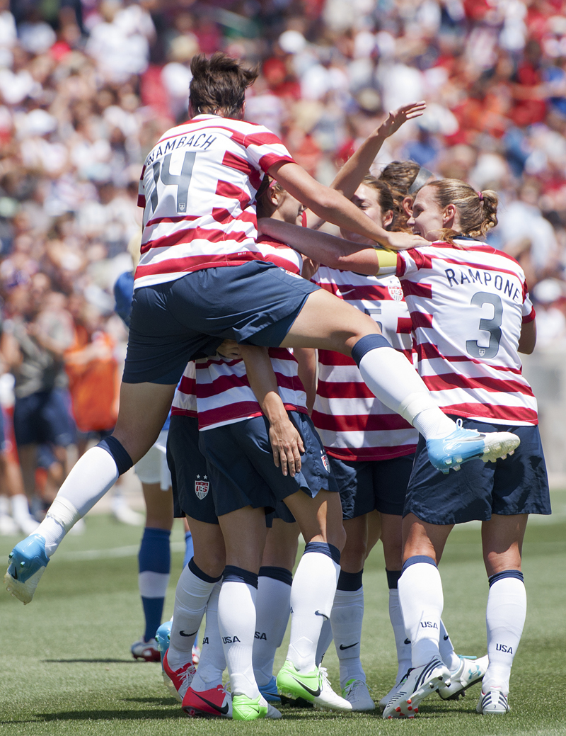 The United States celebrate after forcing an own goal from Canada and a 1-0 lead during their exhibition match at Rio Tinto Stadium in Sandy, UT on Saturday, June 30, 2012. USA defeated Canada 2-1. Photo by Michael Mangum