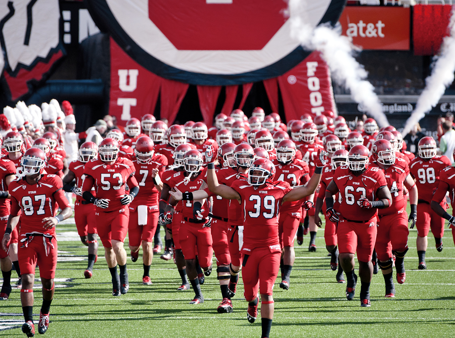 The Utes take the field before the beginning of their game against Northern Colorado at Rice-Eccles Stadium in Salt Lake City, UT on Thursday, August 30, 2012. Utah defeated Northern Colorado 41-0. | Photo by Michael Mangum