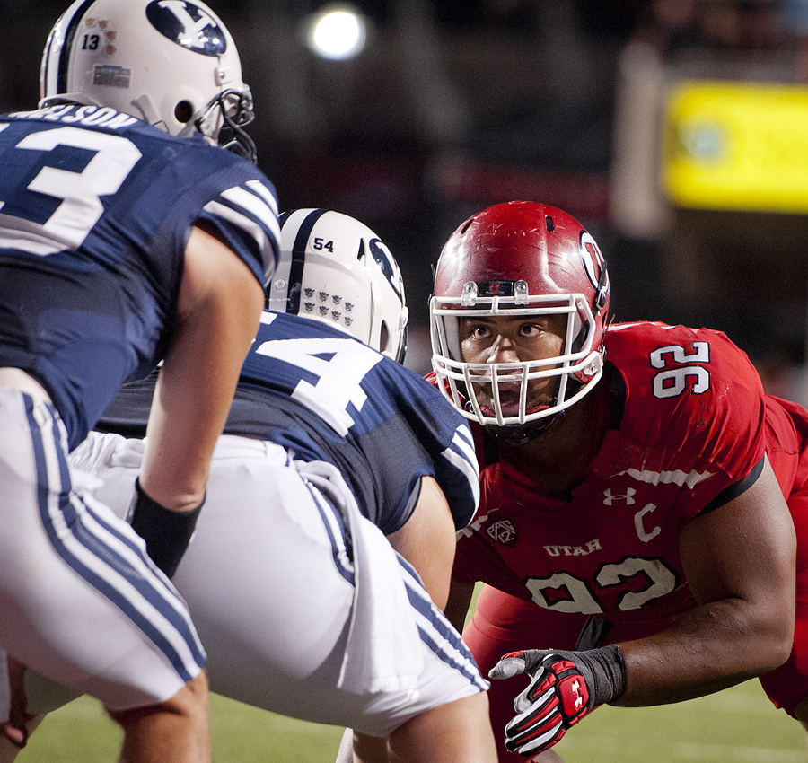 Utah Utes defensive tackle STAR LOTULELEI (92) lines up against the BYU offensive line during their game at Rice-Eccles Stadium in Salt Lake City, UT on Saturday, September 15, 2012. Utah defeated BYU 24-21. | Photo by Michael Mangum
