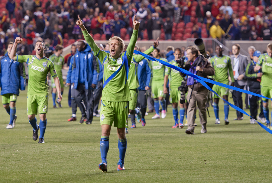 Seattle Sounders defender ADAM JOHANSSON (5), front, and the rest of the team celebrate with the Seattle Supporters Section after their Western Conference Semifinal victory over Real Salt Lake at Rio Tinto Stadium in Sandy, UT on Thursday, November 8, 2012. Seattle defeated Real Salt Lake 1-0 and advance to the Western Conference Final against the Los Angeles Galaxy. | Photo by Michael Mangum