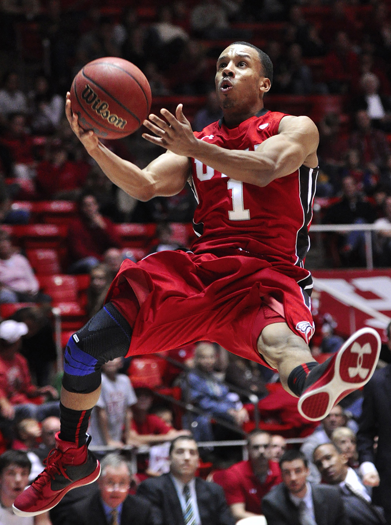 Utah Utes guard GLEN DEAN (1) flies for a layup during their game against the Wright State Raiders at the Jon M. Huntsman Center in Salt Lake City, UT on Saturday, November 24, 2012. Utah beat Wright State 66-54. | Photo by Michael Mangum