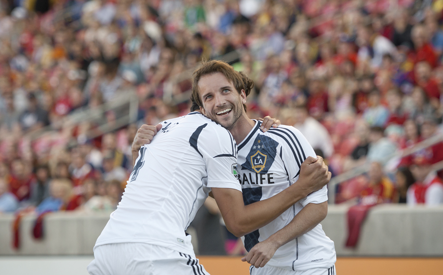 LA Galaxy midfielder MIKE MAGEE (18) celebrates his first half goal with teammate OMAR GONZALEZ, left, during their match against Real Salt Lake at Rio Tinto Stadium in Sandy, UT on Saturday, April 27, 2013. LA Galaxy defeated Real Salt Lake 2-0. | Photo by Michael Mangum