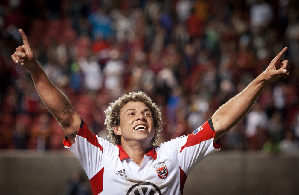 DC United midfielder Nick DeLeon celebrates after the final whistle blows during the Lamar Hunt U.S. Open Cup final at Rio Tinto Stadium in Sandy, UT on Tuesday, October 1, 2013. DC United defeated Real Salt Lake 1-0 to win the championship. | Photo by Michael Mangum