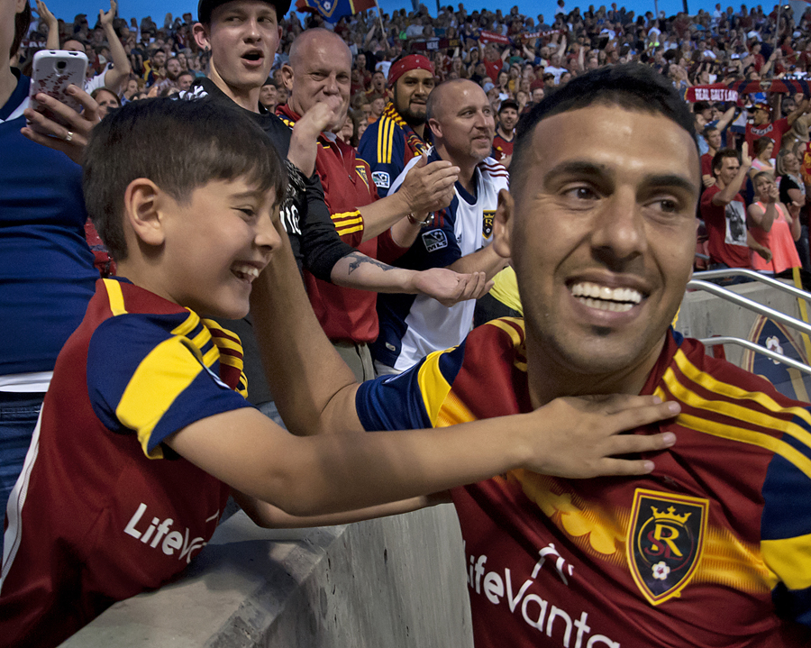Real Salt Lake midfielder Javier Morales hugs his son Santi after scoring a second-half goal against the Colorado Rapis during their match at Rio Tinto Stadium in Sandy, UT on Saturday, May 17, 2014. Real Salt Lake defeated Colorado 2-1. | Photo by Michael Mangum